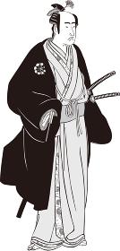 浮世絵 武士 その18 白黒