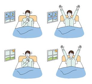 寝不足と快眠の様子の男性のイラストレーション