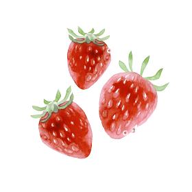 新鮮なイチゴ 水彩 イラスト