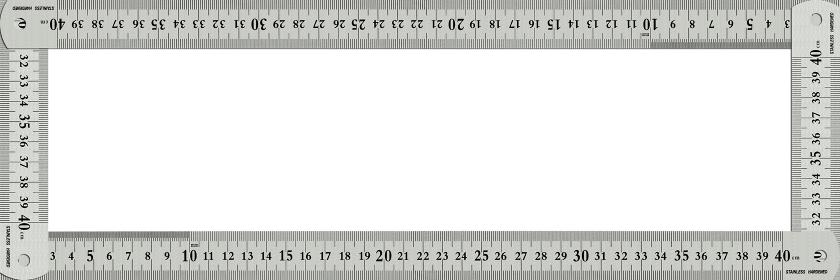 ステンレスの物差しで囲んだフレームに白いコピースペース