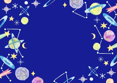 宇宙 星 背景 フレーム 水彩 イラスト