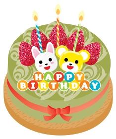 熊とウサギと苺ののった抹茶のお誕生日ケーキ