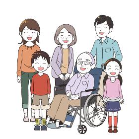 笑顔の高齢男性と家族みんな