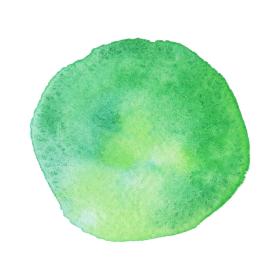 水彩画の丸素材(No.9 緑)アナログ、紙の質感、風合い