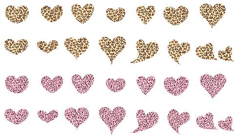 黄色のレオパードとピンクのヒョウ柄のハートアイコンセット