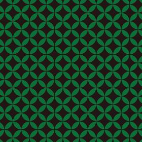 花七宝模様 黒×緑 2
