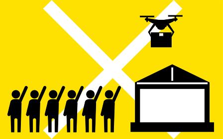 ドローンの法規制、催し場所での飛行禁止を示すシンプルなアイコン