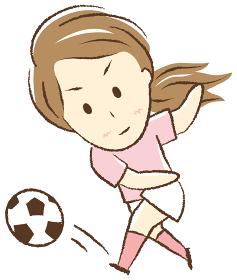 サッカーをする女の子 シュート