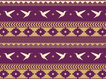 南米の民族風の図形とハチドリのパターン