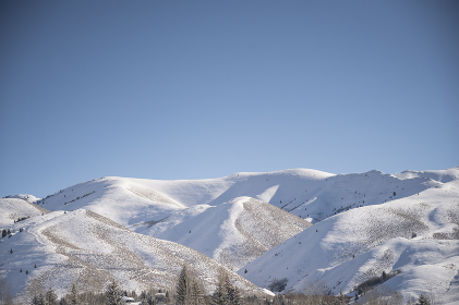 View of the Snowy Sawtooth Mountains on Sunny Day in Ketchum, ID