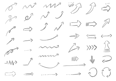 滲んでいるやさしい雰囲気のたくさんの種類の手書きの矢印のベクターイラスト