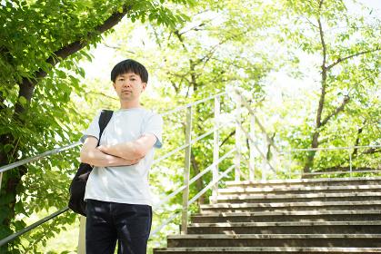 爽やかな新緑の階段に立つ男性