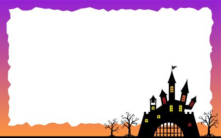 ハロウィンのメッセージフレーム、城と枯れ木のシルエット