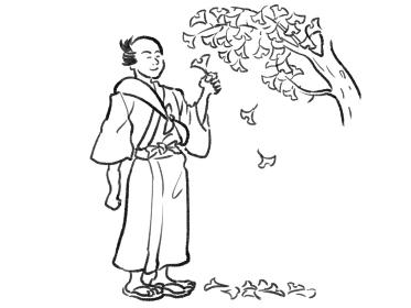 日本画タッチのイチョウを眺める人物イラスト