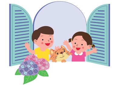 あじさい咲く窓辺の子供と猫