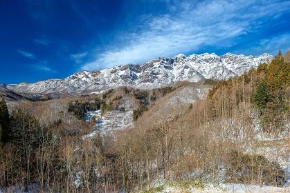 長野県・長野市 冬の大望峠から望む戸隠連山の風景