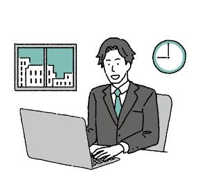 ノートパソコンで仕事をする人物のイラストセット