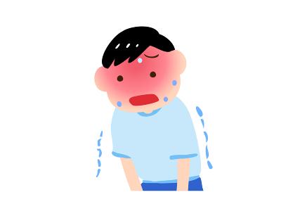 熱中症で震える男の子のイラスト