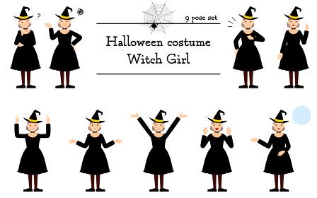 ハロウィンの仮装、魔女姿の女の子のポーズセット~話す・悩む・指さし・他~