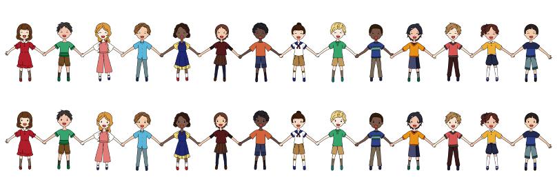 色んな人種の子供たちが手を繋いでいるSDGsイメージのイラスト