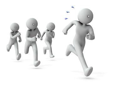 競り合いながら走り続けるライバル・白バック・3Dレンダリング