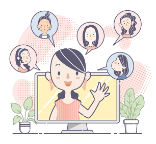 ウェブ会議で話し合う若い女性グループ、チーム