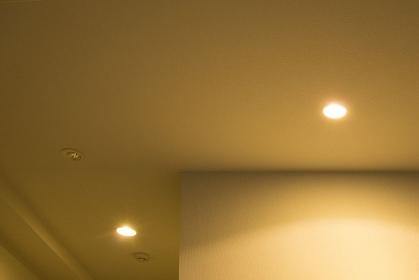 天井の白熱電球のダウンライト