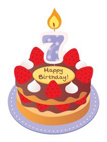 7歳のキャンドルをのせた苺とチョコのお誕生日ケーキ