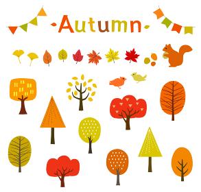 秋の紅葉や木々、動物のイラストセット