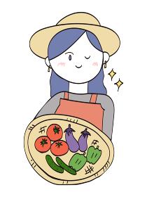 収穫した野菜を持つ農家のおしゃれな女性(ロングヘア)・1人のイラスト