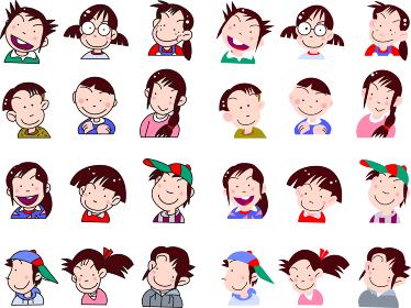 子供の顔のアイコン集