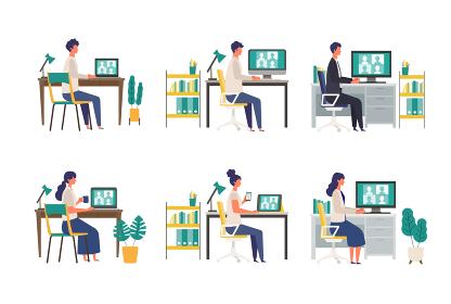 テレビ会議をする人々のイラスト