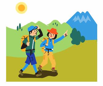 登山するカップル
