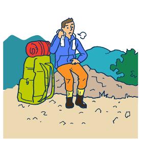 登山 休憩する男性