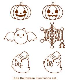 可愛いハロウィンのイラストセット