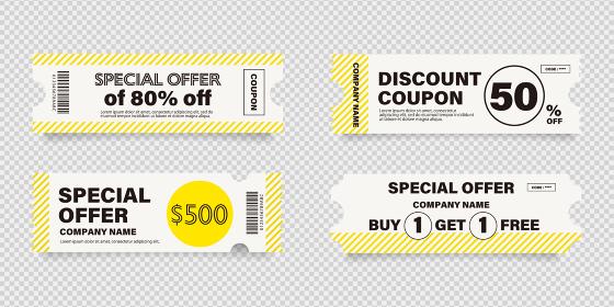 ビジネス用の黄色い縞模様の入ったクーポン券のベクターイラストセット