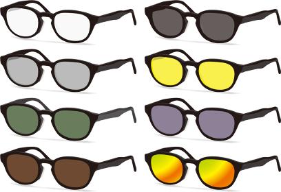 黒い縁の複数の斜めのサングラス 眼鏡