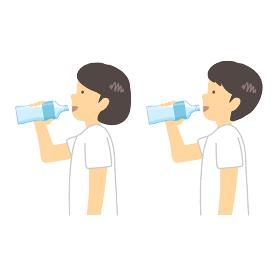 水分補給する少女少年イラスト