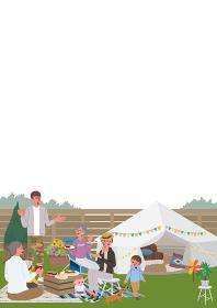 ベランピング 三世代親子のイラスト ピクニック キャンプ