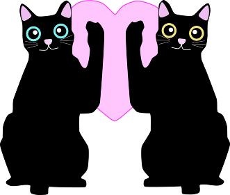 ハートを挟む2匹の猫のイラスト素材