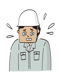 ヘルメットのアジア人作業員男性上半身イラスト(熱中症)