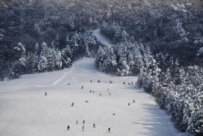 雪山ゲレンデのスキー客とスノーボード