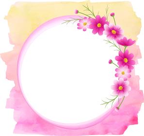 ピンクのグラデーションのコスモスの丸フレーム、リース、イエローピンクの水彩の背景、秋イメージ