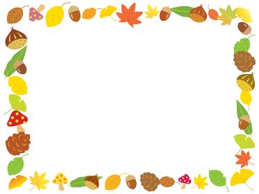 秋の栗とドングリとイチョウや紅葉のフレーム