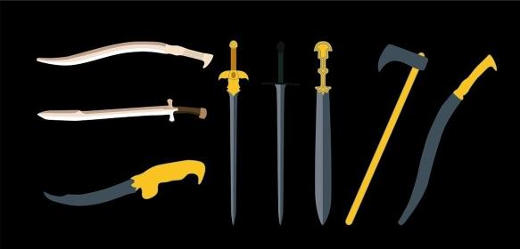 Set the Sword, Swords, Ax and Machete. Vector Illustration EPS10. Set the Sword, Swords, Ax, Machete. Vector Illustration.