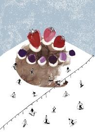ケーキの山でスキー