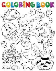 Coloring book mermaid topic 2