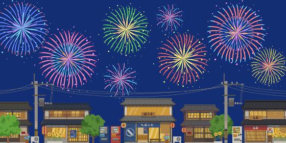 日本の夏の街並みと打ち上げ花火の風景ベクターイラスト横(背景)