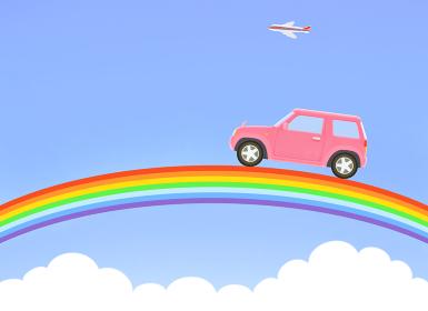 青空の虹とピンクのジープ