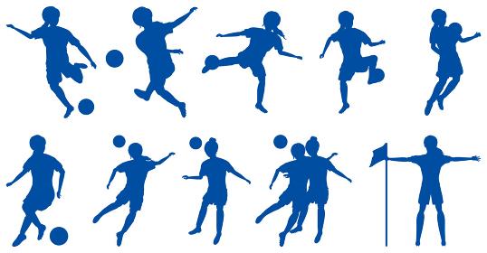 女性サッカー選手シルエットセット